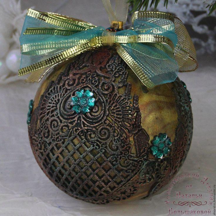 Купить Новогодний шар Винтажный бирюза - хаки, новогодний подарок, новогодний сувенир, новогодний декор
