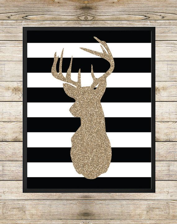 Printable Art Gold Glitter Deer Head Art Deer by SouthernSpruce - Deer Silhouette, Black and White Stripes, Gold Glitter Modern Art, Instant Download, Printable Wall Art