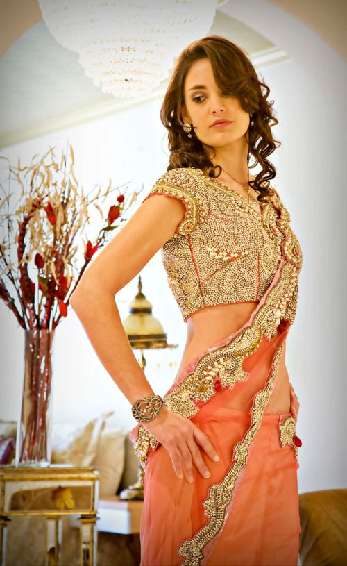 the peach, the embellishment - apt for engagement or reception evening