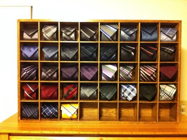 Neck tie display/storage. Looks a lot cooler than a tie rack!