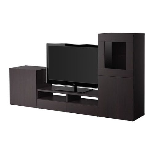 BESTÅ TV storage combination/glass doors - black-brown/Tofta high-gloss/black - IKEA
