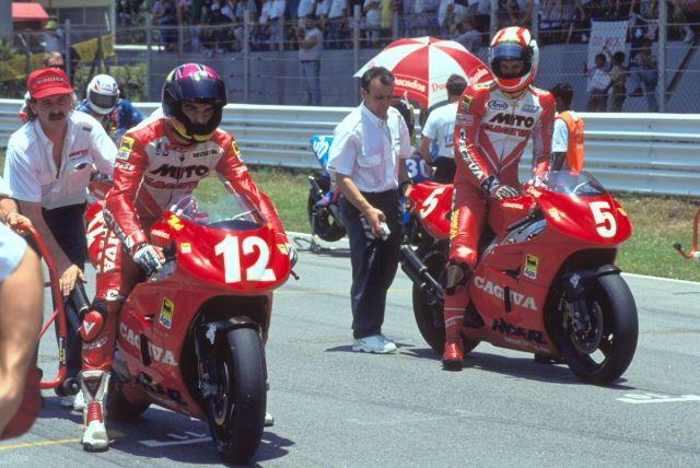 Cagiva riders Matt Mladin and Doug Chandler on the grid at Shah Alam, #500cc 1993 Malaysian GP