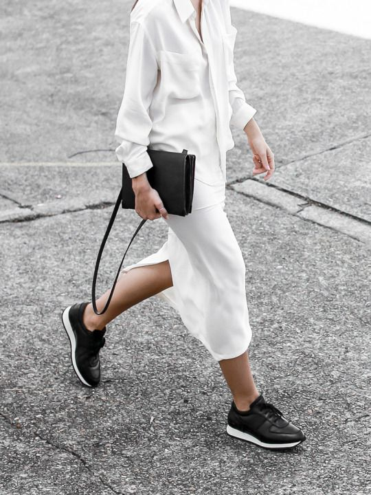 Sporty Chic Style - white shirt & skirt with black leather sneakers & bag