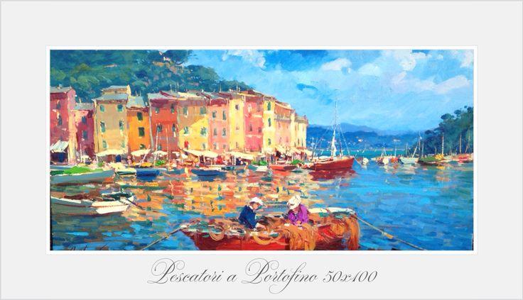 Pescatori a Portofino 50x100 oil on canvas