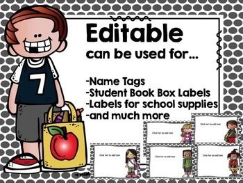 EDITABLE - Super Cute MelonHeadz Labels.Use for labeling school supplies, students book boxes, name tags, and so much more :)Enjoy