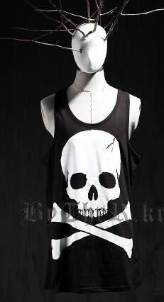 Skull Punk Men Gym Singlets Hip Hop Tank Top Sleeveless Shirt Sports Vests Muscle Mens Tank Tops Bodybuilding
