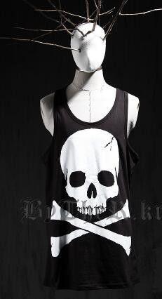 Skull Punk Men Gym Singlets Hip Hop Tank Top Sleeveless Shirt Sports Vests Muscle Mens Tank Tops Bodybuilding