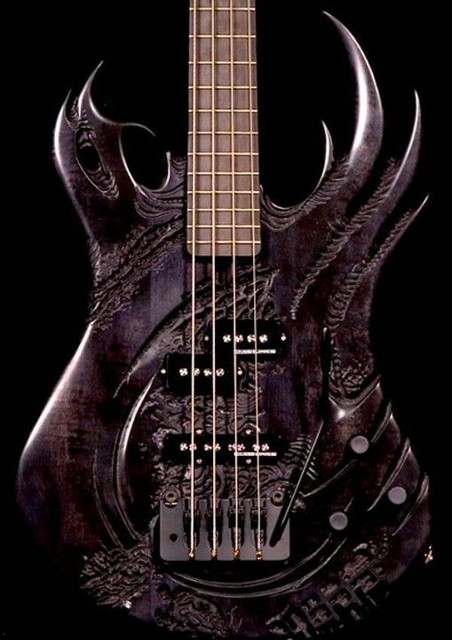 Powerful design for smoke black BASS guitar…