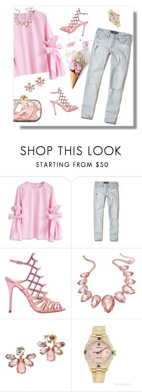 """""""Pink Sparkle Happiness"""" by mk-style ❤ liked on Polyvore featuring Chicwish, Hollister Co., Schutz, Thalia Sodi, Marchesa, Rolex and Bottega Veneta"""
