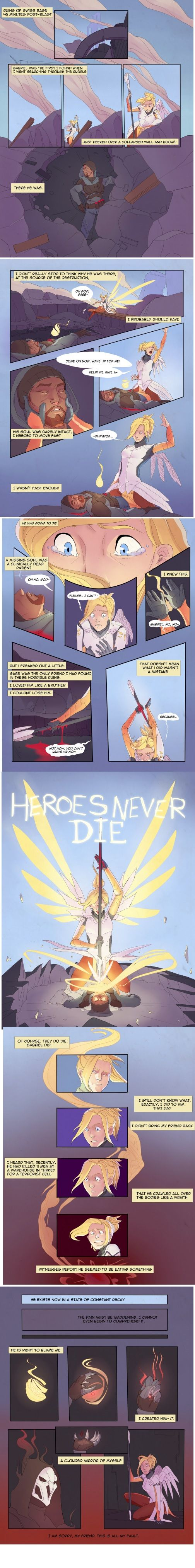6 pages of fanmade comic about Mercy and Reaper (Overwatch) http://ift.tt/2guDqfB