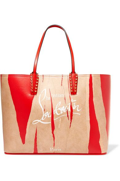CHRISTIAN LOUBOUTIN CABATA KRAFT STUDDED PRINTED LEATHER TOTE.   christianlouboutin  bags  leather  hand bags  tote   50ae86b2caa14