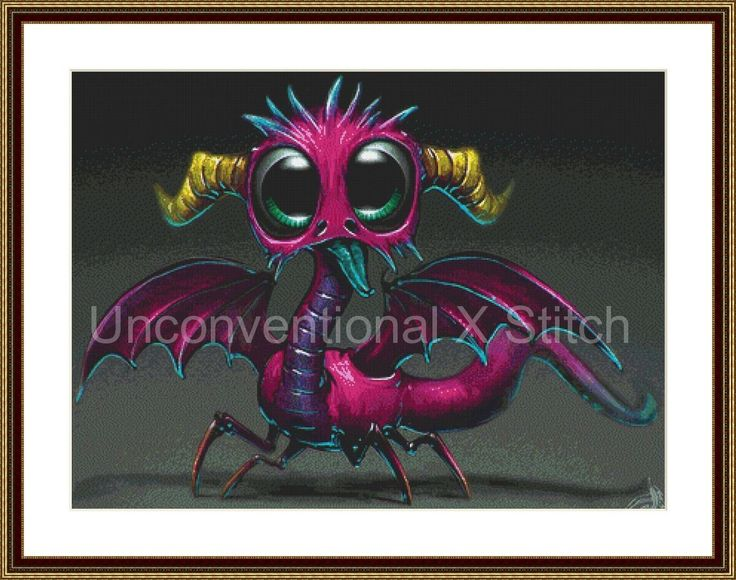 Little Dragon XL counted cross stitch pattern - dragon xstitch by…