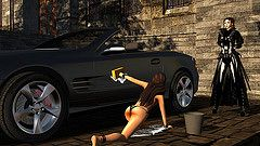 Putting Her To Work (alexandriabrangwin) Tags: world red madame black sexy car leather fetish computer pose 3d bucket graphics sub wheels convertible trenchcoat wash devon bikini secondlife virtual foam mercedesbenz latex brakes disc sponge mistress domme suds catsuit amg sl65 cgi slave alloy brabus submissive ventilated supervising calipers slavegirl kultus alexandriabrangwin brangwinmanor
