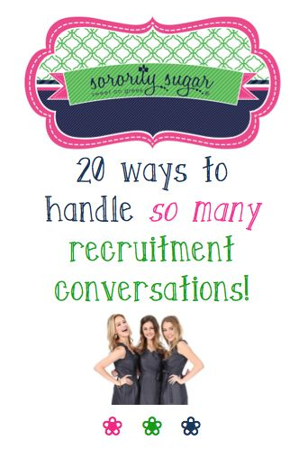 Whether you're a PNM, or a sorority sister, you will be faced with lots & lots of conversations during rush week. Avoid being overwhelmed while meeting so many different girls with these 20+ tips from sorority sugar! <3 BLOG LINK: http://sororitysugar.tumblr.com/post/135324794989/rushtalk-how-not-to-be-overwhelmed-by-so-many#notes
