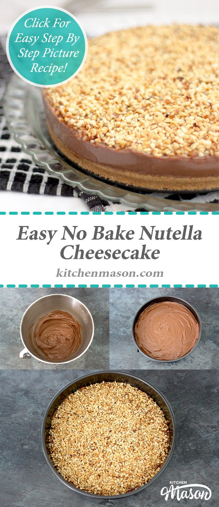 Easy No Bake Nutella Cheesecake | Make Ahead | Dessert
