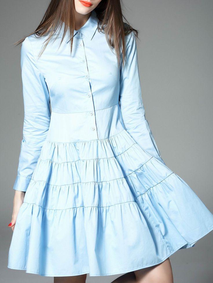 ¡Cómpralo ya!. Blue Lapel Pleated A-Line Dress. Blue Peter Pan Collar Long Sleeve Polyester A Line Short Plain Fabric has no stretch Summer Casual Day Dresses. , vestidoinformal, casual, informales, informal, day, kleidcasual, vestidoinformal, robeinformelle, vestitoinformale, día. Vestido informal  de mujer color azul marino de SheIn.