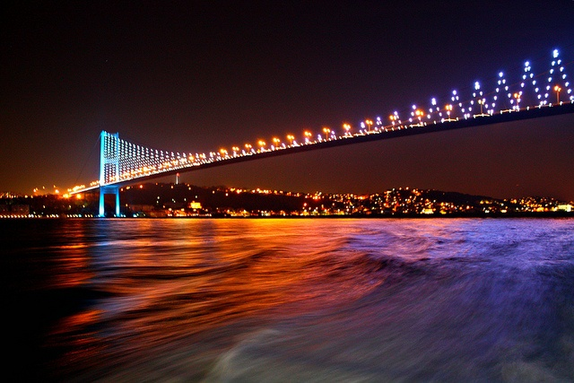 night shot of the bosphorus bridge