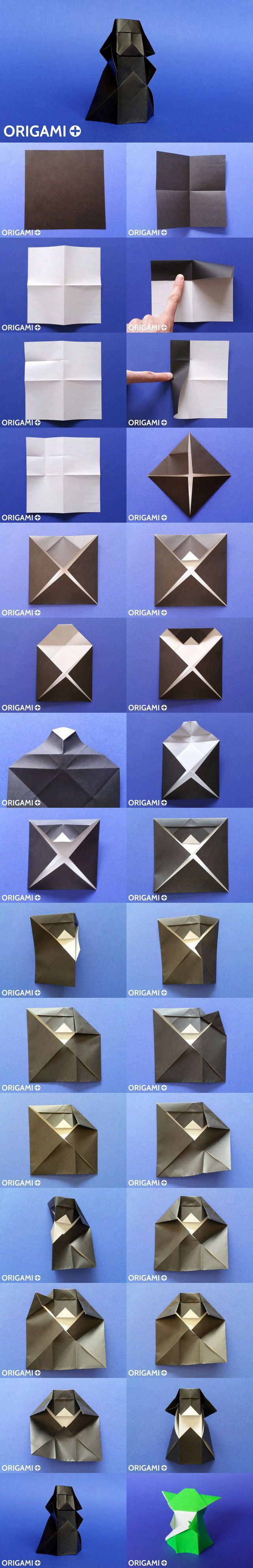 Origami Darth Vader tutorial and instructions #starwars origami diagram and video.
