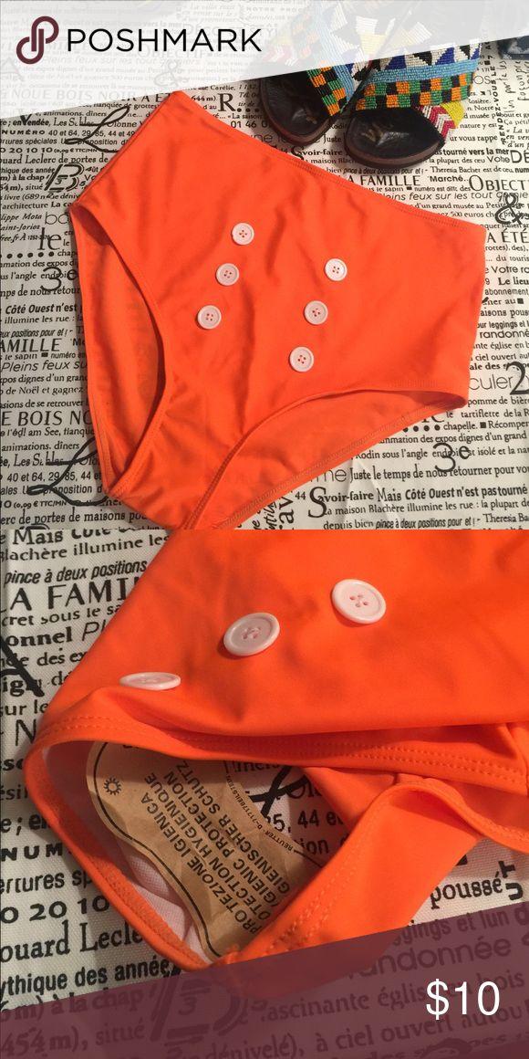 Rockabilly swim bottoms Retro high waist swim bottoms in neon orange with white fashion button .    BNWOT never worn rockabilly Swim Bikinis