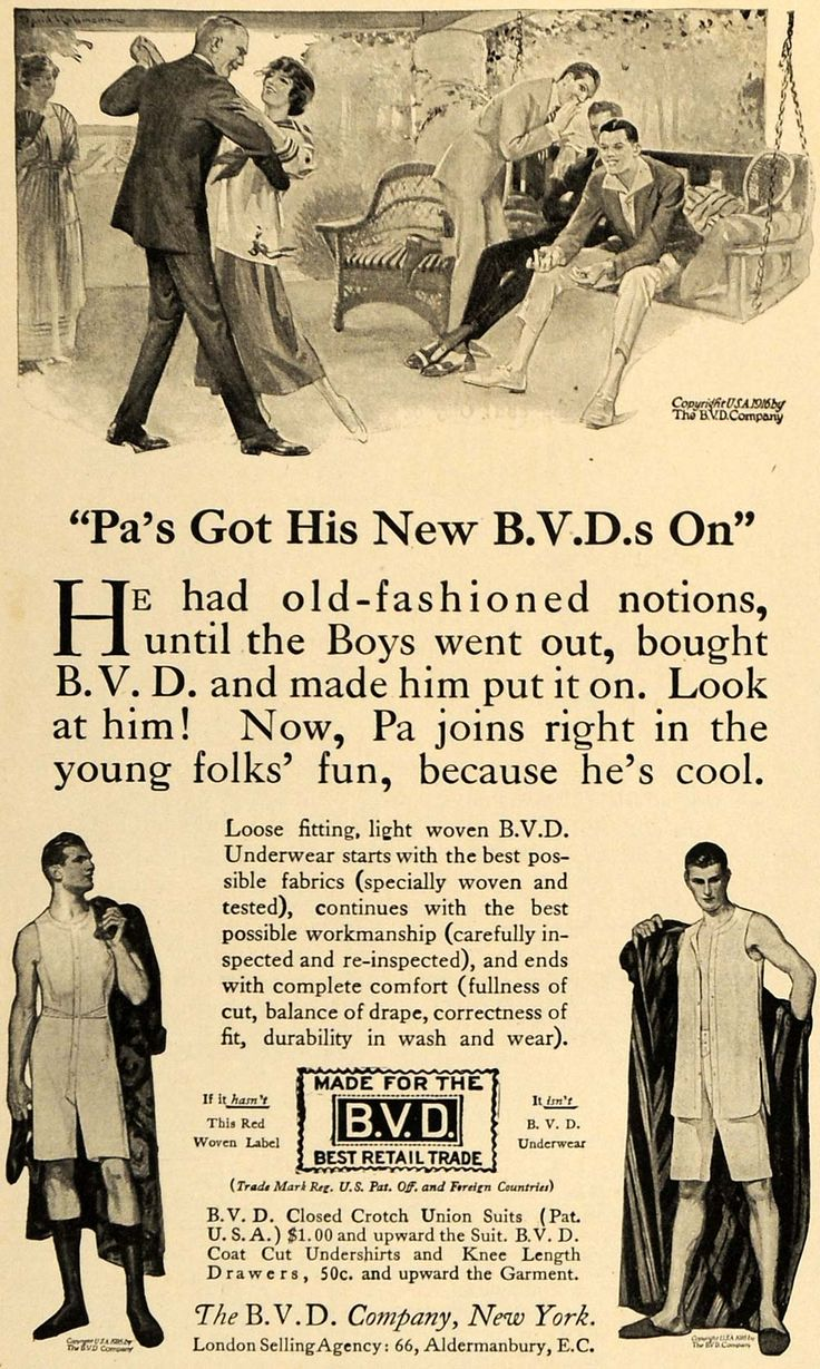 1916 men clothes | 1916 Ad B. V. D. Underwear Men's Clothing Fabric Dance - ORIGINAL ...