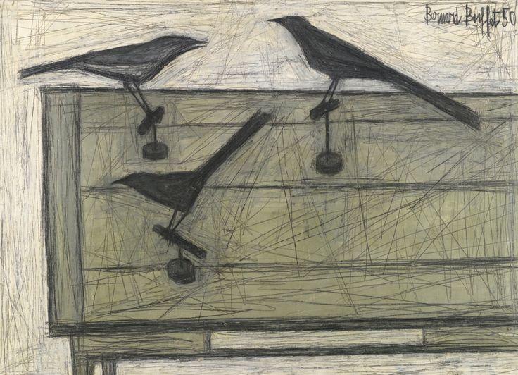 Trois oiseaux sur une table (Three birds on a table) 1950. Bernard Buffet. Oil on canvas