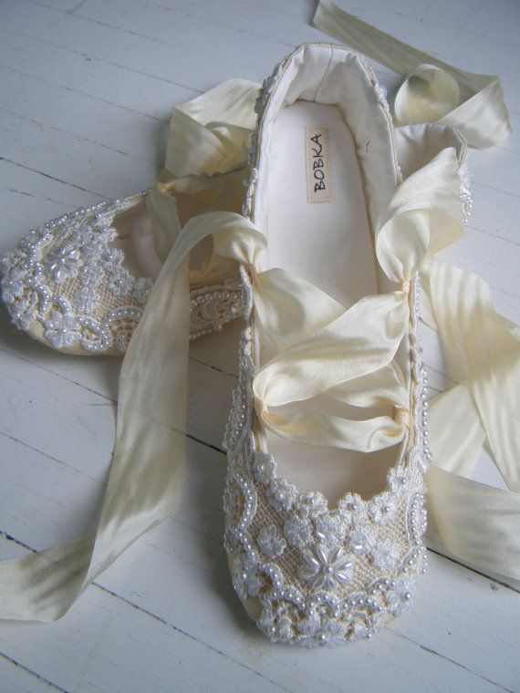 Champagne Wedding Ballet Shoes Bridal flats Bobka by BobkaBaby, $199.00. Love this idea if they were a little cheaper.