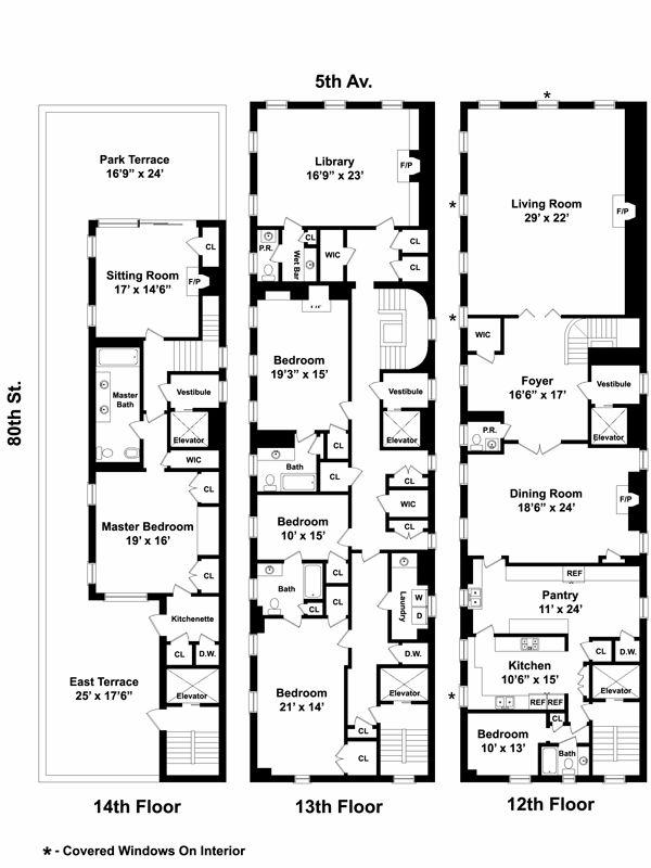 990 5th Ave Triplex Floor Plans Pinterest