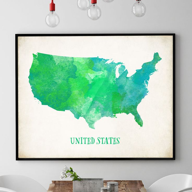 Green US Map Wall Art, US Map Poster, United States Map Print, Map Of USA Wall Art, Nursery Decor, Watercolour Map, Kids Room Decor (732) by PointDot on Etsy