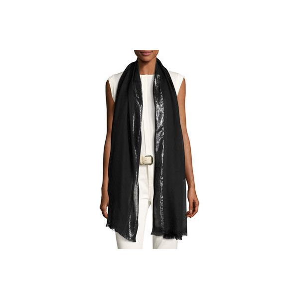 Loro Piana Angel Metallic Cashmere-Blend Stole ($840) ❤ liked on Polyvore featuring accessories, scarves, black, loro piana scarves, metallic shawl, loro piana and metallic scarves