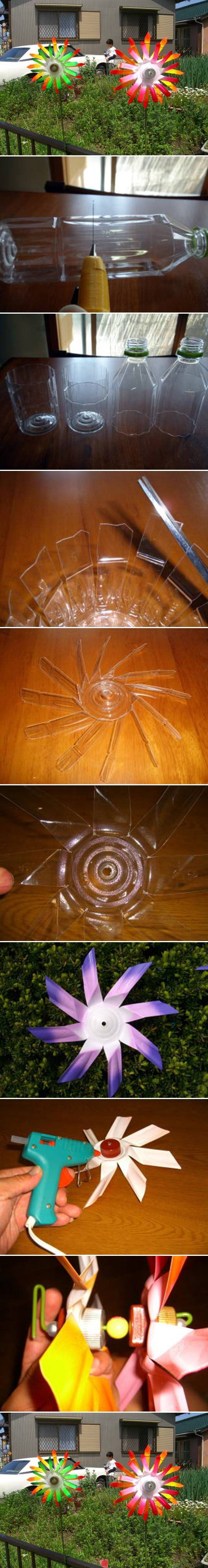 Make a pinwheel from a plastic bottle.