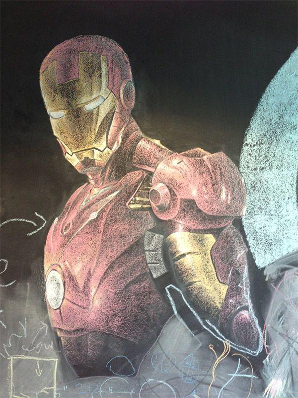 Awesome chalk Iron Man art