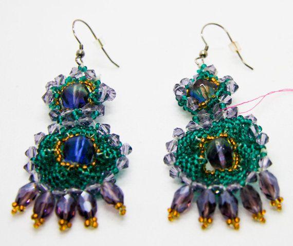 #Statement Earrings #Earrings #Beaded Earrings #Crystal Earrings #Jewelry #Emerald #Emerald Jewelry #Purple #Gifts #Holiday Earrings #Swarovski #Swarovski Earrings