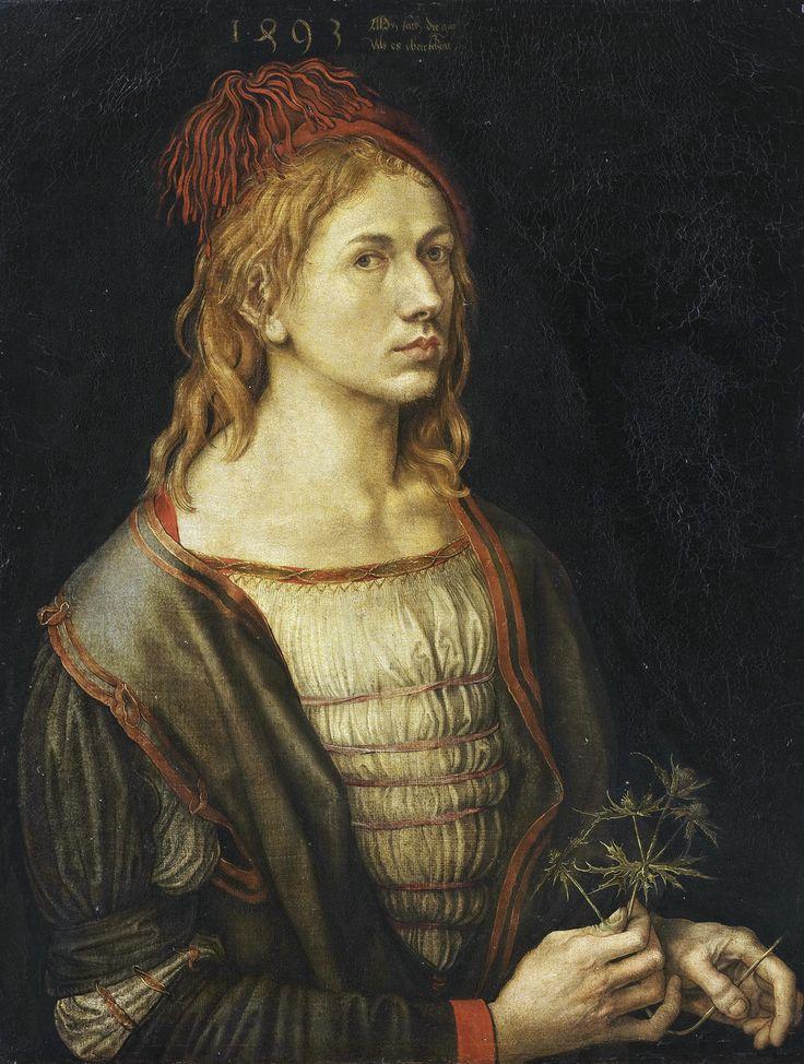 The earliest painted Self-Portrait  — 1493 — by Albrecht Dürer. Portrait of the artist holding a thistle. Oil, originally on vellum. Louvre, Paris