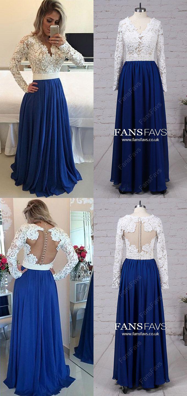 Long sleeve prom dresses modestlong prom dresses vnecksimple prom