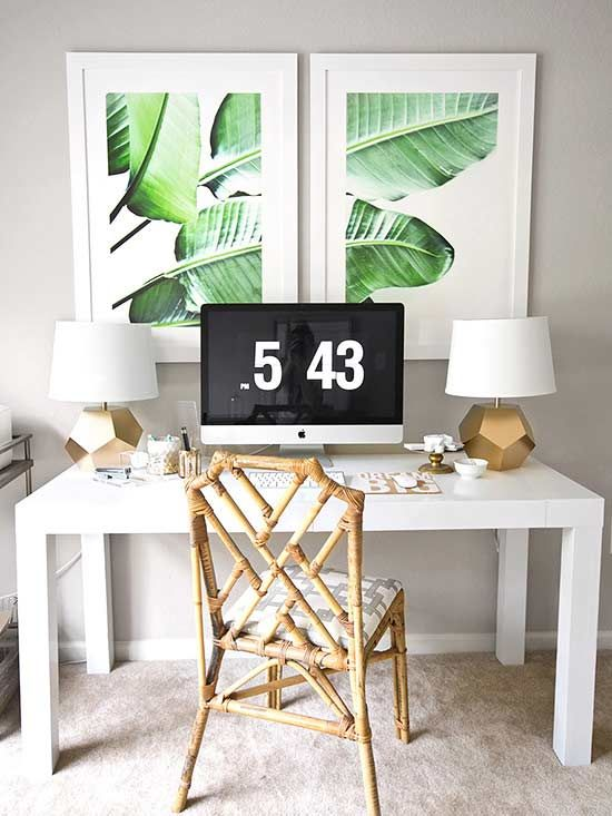 Boost your mood by designing your bedroom with this pattern in mind. See how this home blogger explores the banana leaf print in her bedroom, bathroom, living room, dining room and kitchen here!