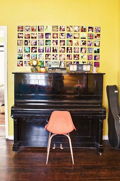 Upright piano!Wall Collage, Ideas, Photos Projects, Yellow Wall, The Piano, Photos Wall, Photos Display, Instagram Wall, Pictures Wall