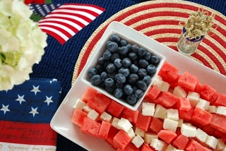 Fourth of july snacks: blueberries, cubed watermelon, and bananas displayed like the american flag #healthy_holiday_snacks