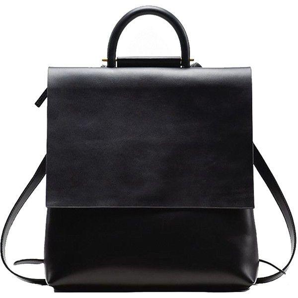 Black Leather Designer Urban Backpack Elen Rose ($119) ❤ liked on Polyvore featuring bags, rose bag, real leather backpack, leather backpack, leather knapsack and daypack bag