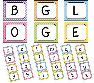 Boggle board and clock label freebies. Really cute. Scroll waaaaayyyy down.