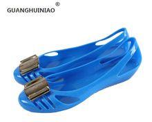 2016 новый металл квадратные пряжки досуг моды полые пластиковые ботинки дышащие желе обувь удобные плоские туфли(China (Mainland))