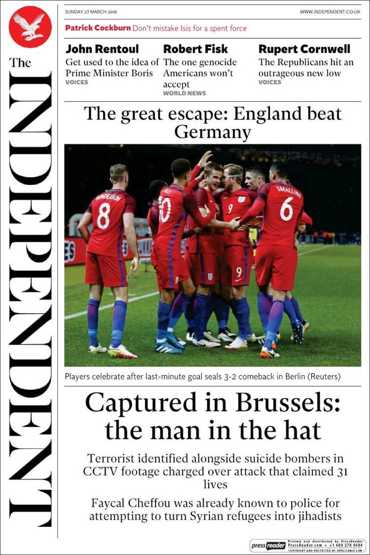 #20160327 Sunday MAR 27th 2016 / #20160326 Saturday MAR 26th 2016 #TheIndependentUK http://en.kiosko.net/uk/2016-03-27/np/the_independent.html + http://www.independent.co.uk/ []} The Independent newspaper bows out after 30 years - a review of its final edition []} http://www.thedrum.com/opinion/2016/03/27/independent-newspaper-bows-out-after-30-years-review-its-final-edition + The eagle dares: Independent goes out of print on a scoop: Journalists and readers pay fond tribute to newspaper as…