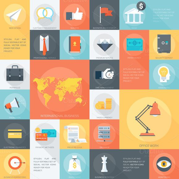 Web Design Flat Icon set. by howcolour on @creativemarket