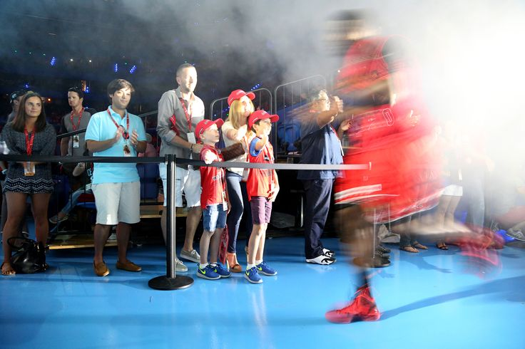 Jermaine Beal makes his entrance in front of VIPs. Photo Michael Farnell/Perth Wildcats