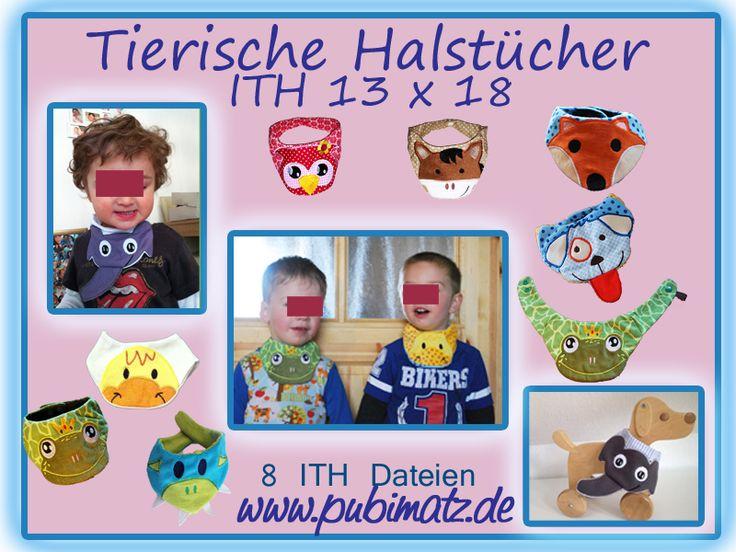 ITH Stickdatei tierische Halstücher 13x18 von Pubimatz auf DaWanda.com