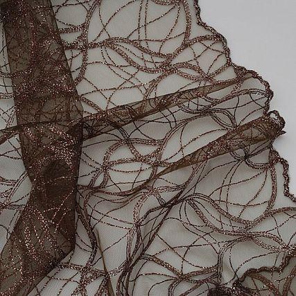 Krajka geometrický vzor vlnek tmavě hnědá