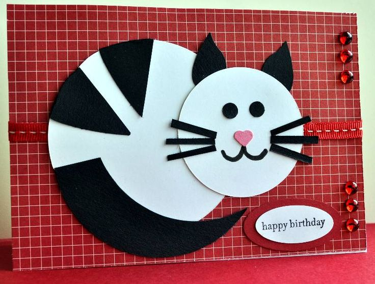 "Made for sketch #45 at http://annabellestamps.blogspot.com It is for my daughter's birthday later this month. She and her husband are slightly obsessed with their black and white cat ""Rosie"" who is treated like she is their baby! Ears are the wing of SU bird punch Stripes are large heart punch cut in half then trimmed to fit around large circle"