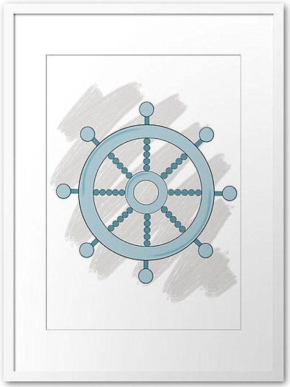 Ship steering Wheel Printout / Wall art by PocketFulOfPrintouts