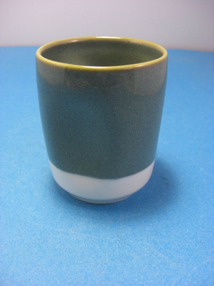 2008 Starbucks Sage Green White Pinched Pottery Coffee