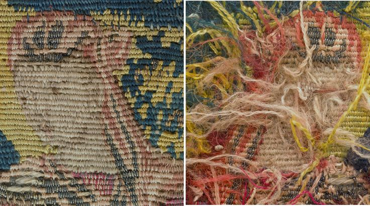 """Although faded Sarah's face remains expressive. The eyes have been highlighted with  small sections of warp wrapped with white silk.""""Abraham Entertaining the Angels"""" from Scenes from the Lives of Abraham and Isaac Date: ca. 1600 Culture: Flemish Medium: Wool, silk, silver-gilt thread (21 warps per inch, 9 per cm.) Dimensions: H. 19 3/4 x W. 20 inches (50.2 x 50.8 cm) Classification: Textiles-Tapestries Credit Line: Gift of George Blumenthal, 1941 Accession Number: 41.100.57e"""