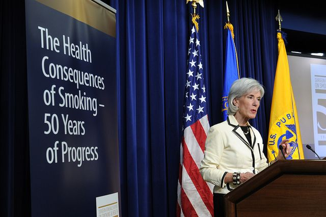 HHS Secretary Kathleen Sebelius gives remarks at the White House event, The Health Consequences of Smoking - 50 Years of Progress: A Report of the Surgeon General. Learn more about the announcement at http://www.surgeongeneral.gov/library/reports/50-years-of-progress/index.html.: Smoking, Photo, White House